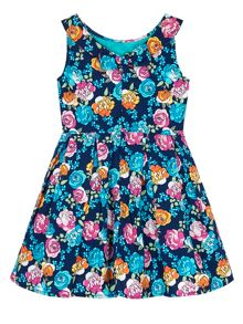 Uttam Girls Floral Print Boat Neck Dress