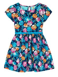 Uttam Girls Floral Print Skater Dress