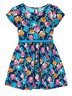 Girls Floral Print Skater Dress