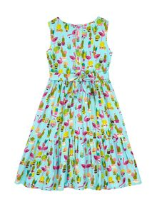 Uttam Girls Flamingo Print Frill Day Dress