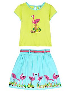 Girls Flamingo Print T-shirt and Skirt