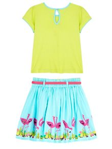 Uttam Girls Flamingo Print T-shirt and Skirt
