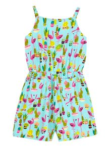 Uttam Girls Flamingo Print Playsuit