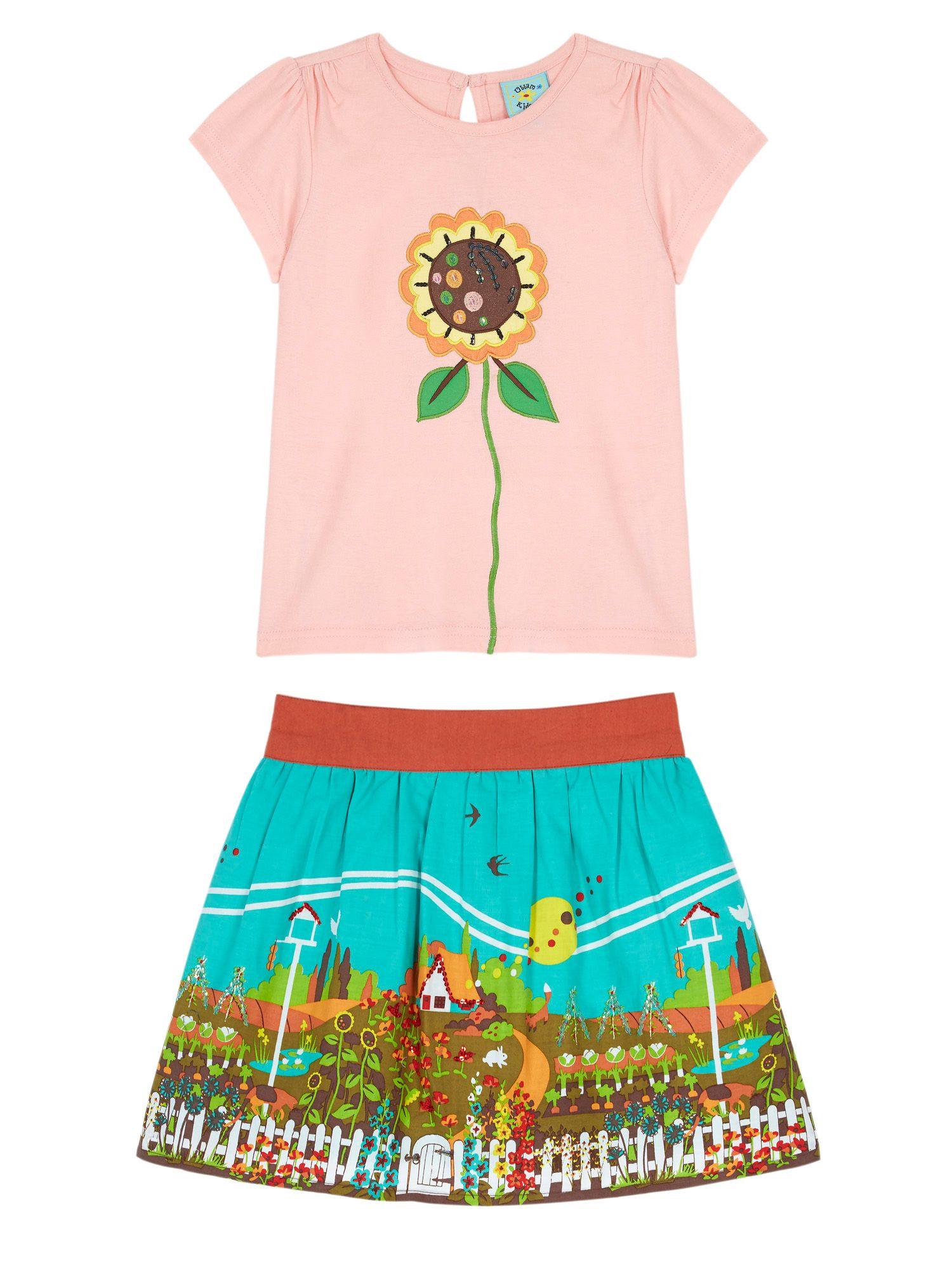 Photo of Uttam girls garden print t-shirt and skirt- pink