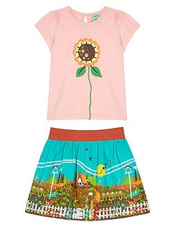Girls Garden Print T-Shirt and Skirt