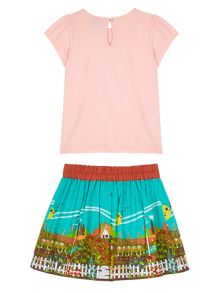 Uttam Girls Garden Print T-Shirt and Skirt