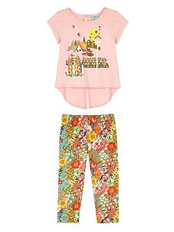 Girls 70s Floral T-Shirt and Leggings