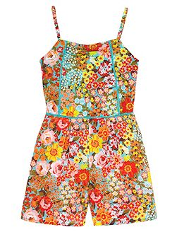 Girls 70s Floral Print Playsuit