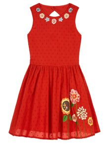 Uttam Girls Floral Embroidered Sun Dress