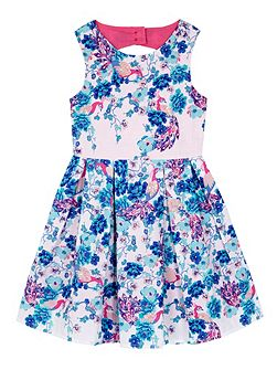 Girls Embellished Peacock Party Dress