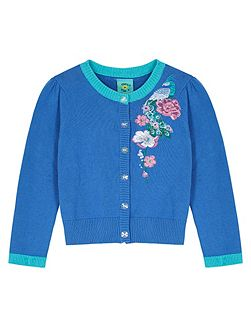 Girls Peacock Embroidered Cardigan