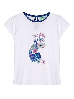 Girls Embellished Peacock T-Shirt