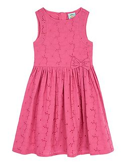 Girls Broderie Anglaise Bow Front Dress