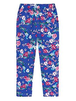 Girls Peacock Floral Print Leggings