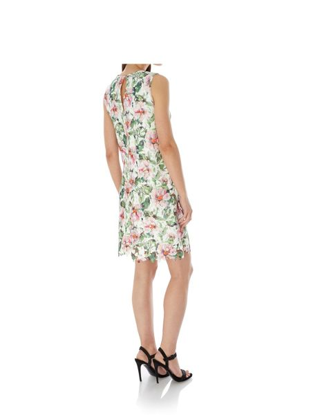 Uttam Boutique Floral Print Lace Shift Dress