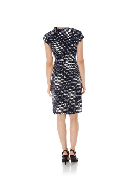 Uttam Boutique Diamond Dot Print Wrap Dress