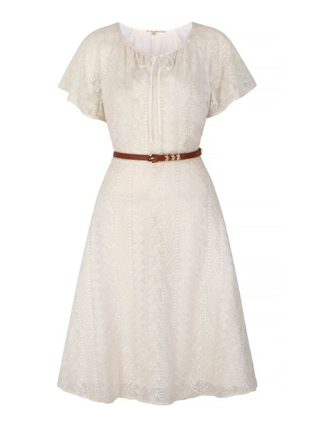 Uttam Boutique Lace Peasant Day Dress with belt included