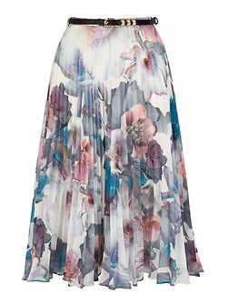 Cherry Blossom Print Pleated Midi Skirt with belt