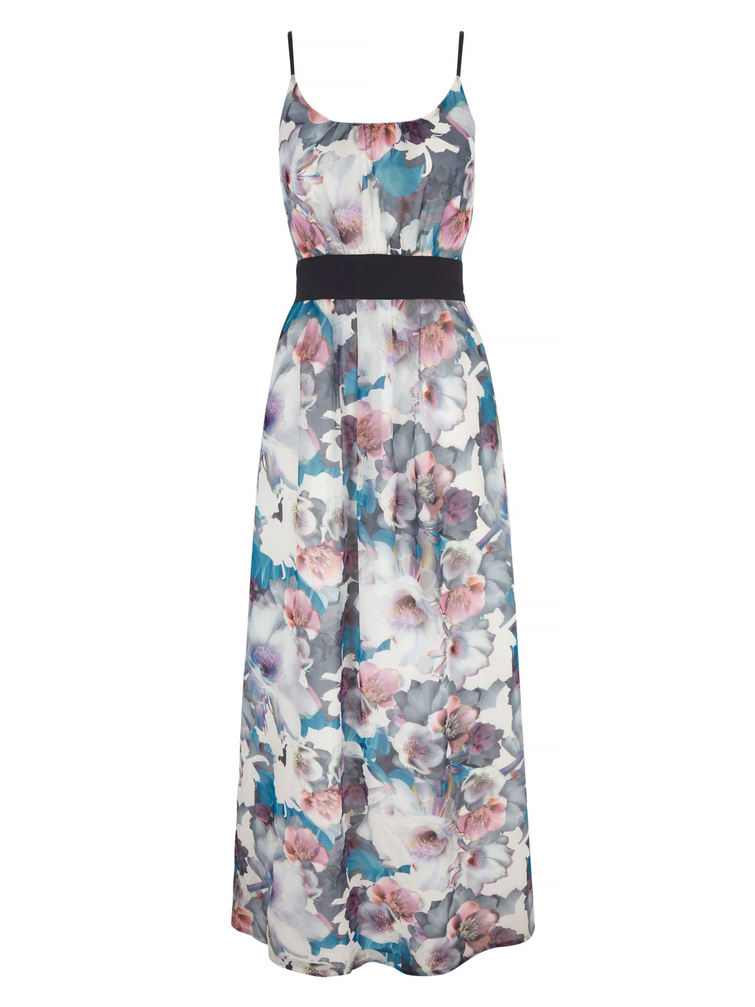 Uttam Boutique Cherry Blossom Print Maxi Dress with belt include, Multi-Coloured