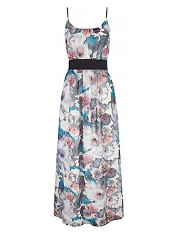 Cherry Blossom Print Maxi Dress with belt include