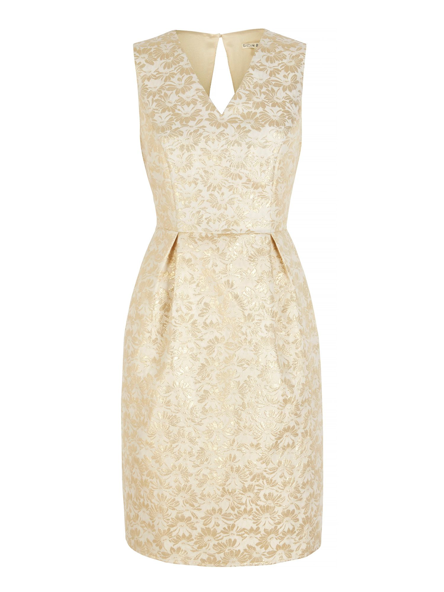 Uttam Boutique Gold Daisy Jacquard Party Dress Yellow