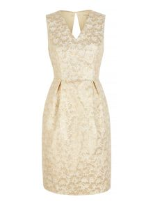 Gold Daisy Jacquard Party Dress