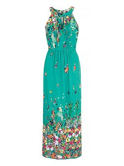 Floral Print Halterneck Maxi Dress
