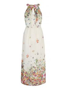 Uttam Boutique Floral Print Halterneck Maxi Dress