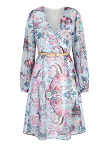 Uttam Boutique Paisley Print Long Sleeve Wrap Dress