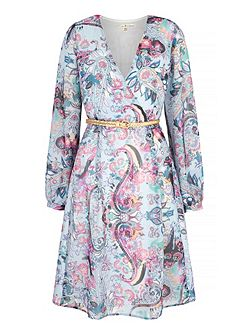 Paisley Print Long Sleeve Wrap Dress