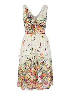 Cascading Floral Print Day Dress