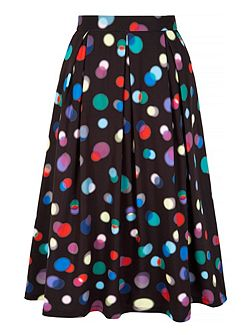 Bokeh Print Pleated Midi Skirt
