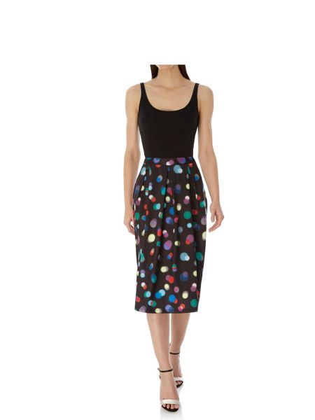 Uttam Boutique Bokeh Print Pleated Midi Skirt