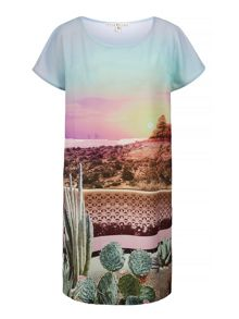 Uttam Boutique Palm Springs Cactus Print Tunic Dress