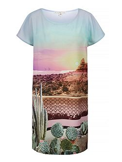Palm Springs Cactus Print Tunic Dress