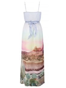 Uttam Boutique Palm Springs Cactus Print Maxi Dress