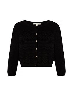 Mixed Lace Cropped Cardigan