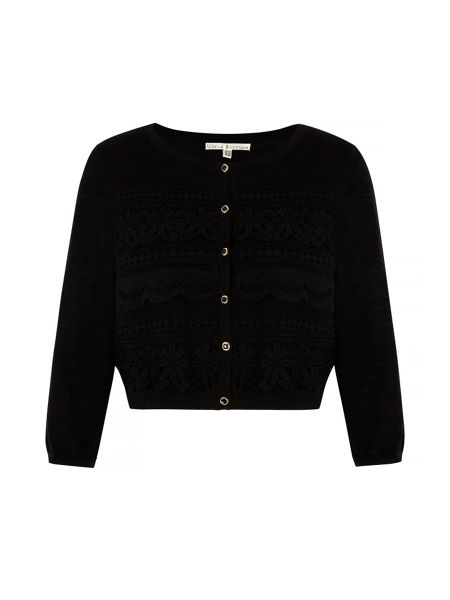 Uttam Boutique Mixed Lace Cropped Cardigan
