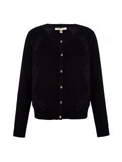 Embroidered Cut Out Cardigan