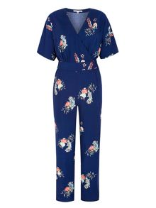 Uttam Boutique Peacock Print Wrap Jumpsuit