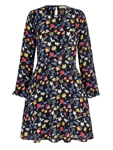 Yumi Scribble Floral Print Skater Dress