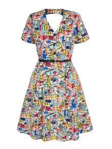 Yumi Village Print Skater Dress with belt
