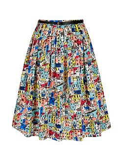 Village Print Pleated Midi Skirt