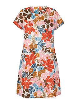 70s Floral Print Shift Dress