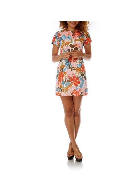 Yumi 70s Floral Print Shift Dress