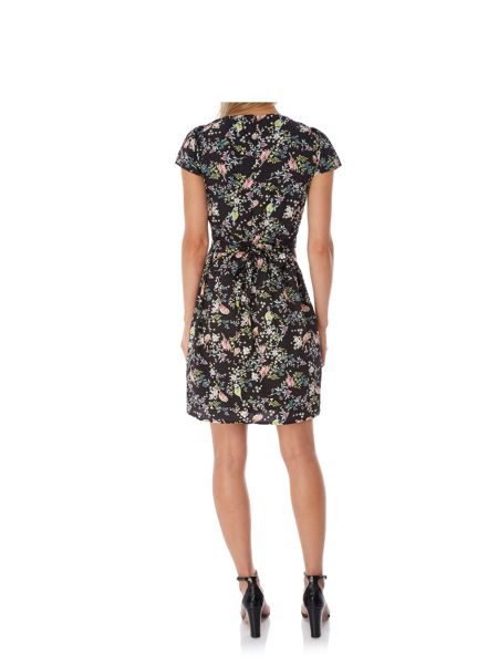 Yumi Bird Print Gathered Tea Dress