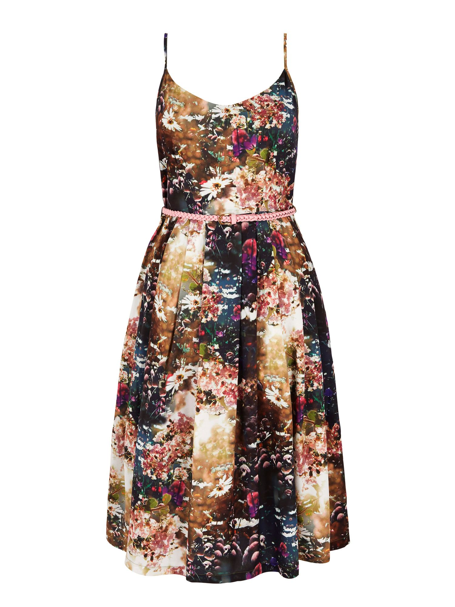 Yumi Floral Print Day Dress with belt, Multi-Coloured
