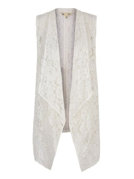 Yumi Sleeveless Lace Waterfall Jacket