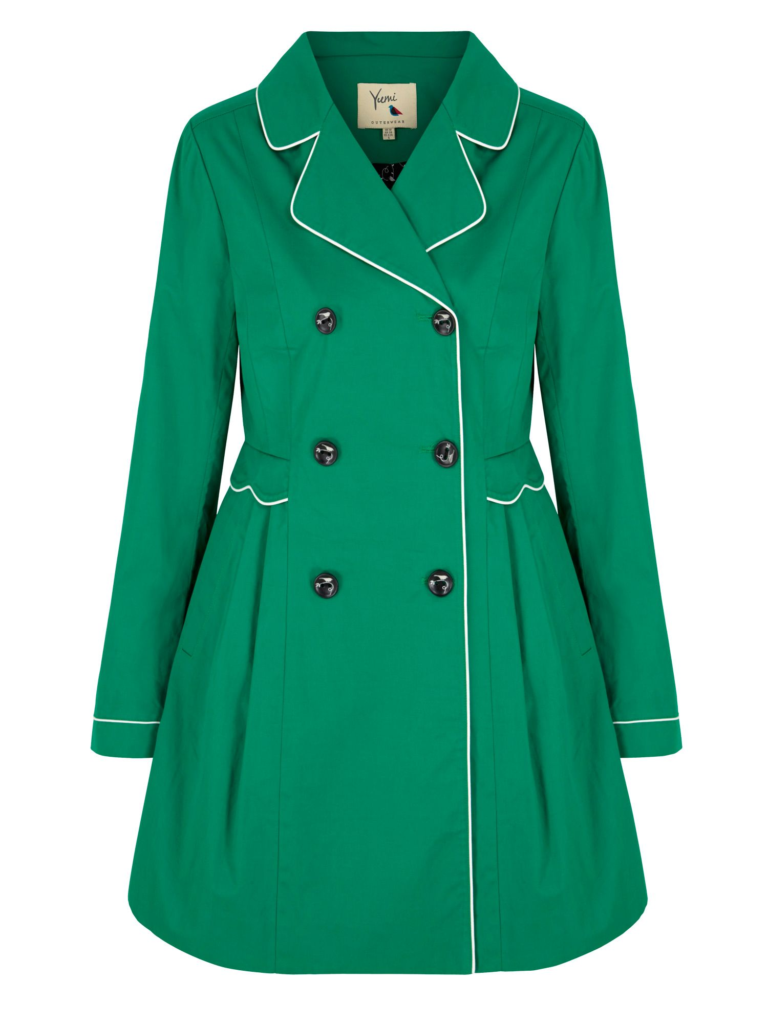 Yumi Yumi Trench Coat with Scallop Detail, Green