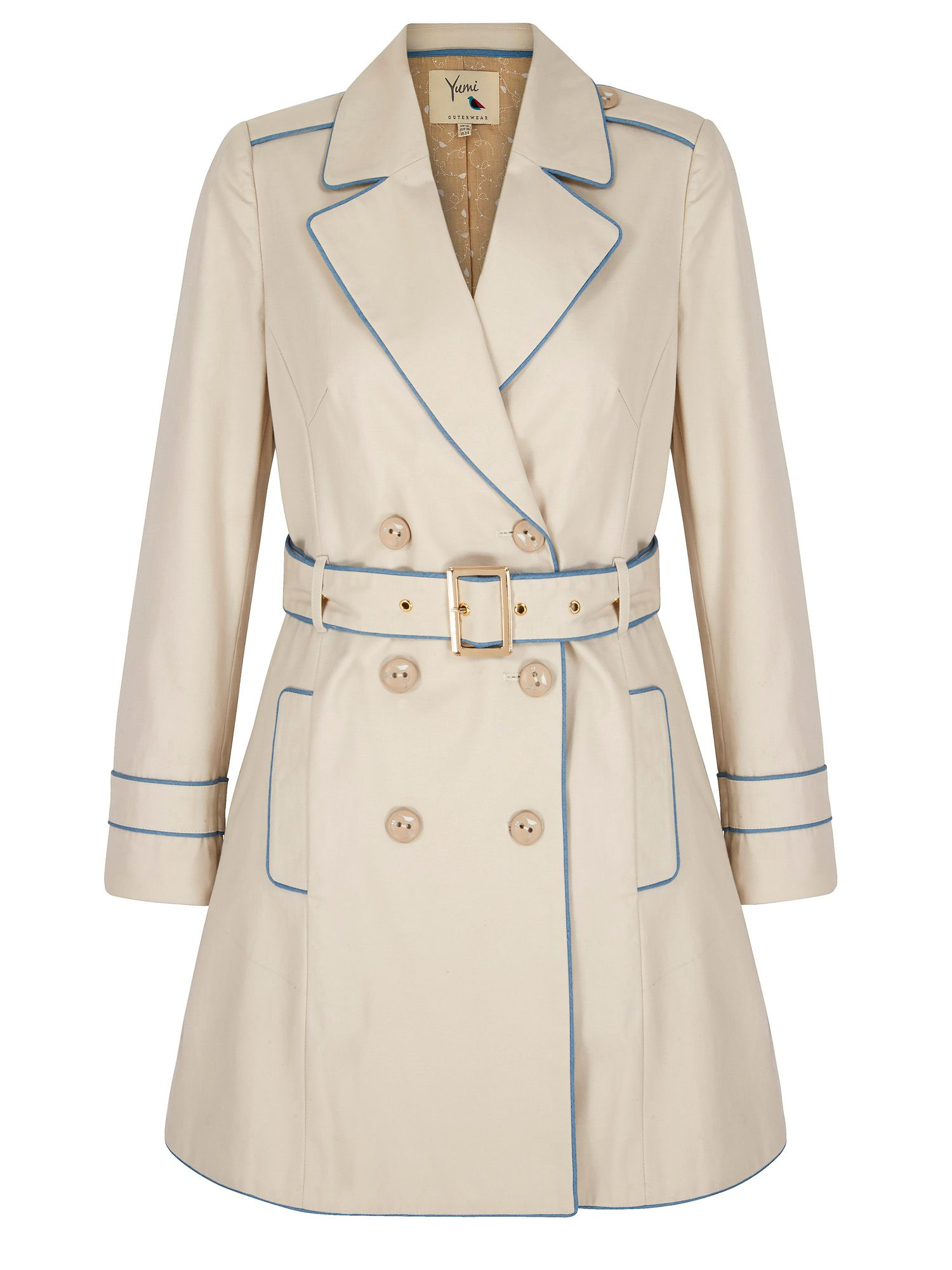 Yumi Contrast Trench Coat, Stone